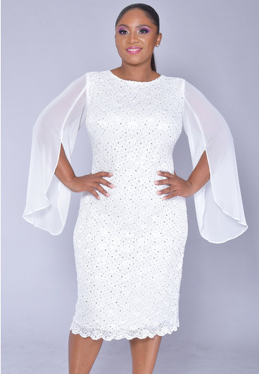 LENA- Sequins Dress with Chiffon Split Sleeves