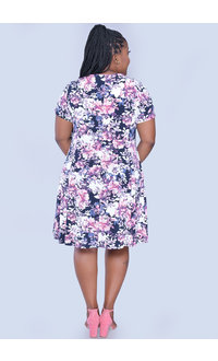 YUNA- Floral Fit & Flare Printed Dress