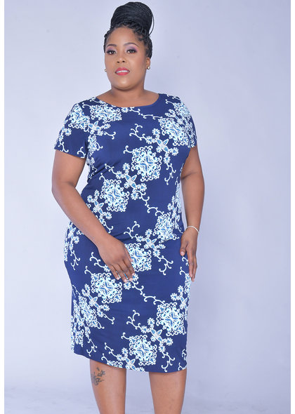 IKARA- Plus Size Short Sleeve Puff Print Dress