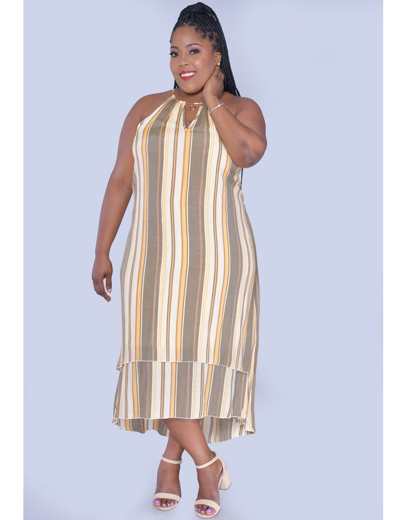MLLE Gabrielle GESINE- Plus Size Striped Layered High Low Dress