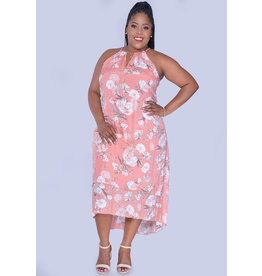 MLLE Gabrielle GINELLE- Plus Size Printed Hi-Lo Dress with Keyhole