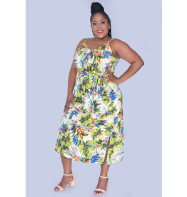 MLLE Gabrielle GEN- Plus Size Strappy Shirt Dress with Pockets