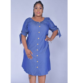 MLLE Gabrielle KANIKA- Short Sleeve Jeans Dress with Wooden Buttons