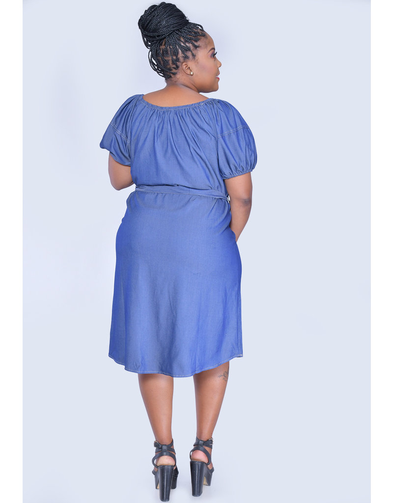 MLLE Gabrielle KARMA- Plus Size Puff Sleeve Jeans Dress