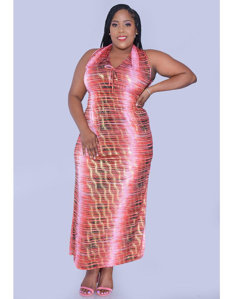 ACE Fashions YEMMA- Plus Size Printed Maxi with Smocking Insert