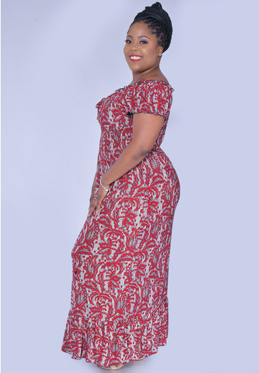 ACE Fashions IARAH- Plus Size Maxi Dress with Elastic Top
