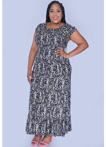 ACE Fashions IARAH- Plus Size Maxi Dress with Elastic Top