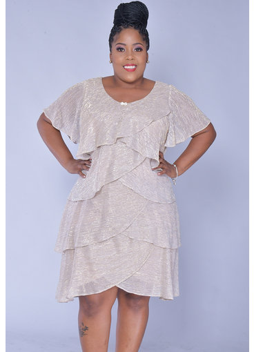 FARLY- Plus Size Foil Short Sleeve Shutter Dress
