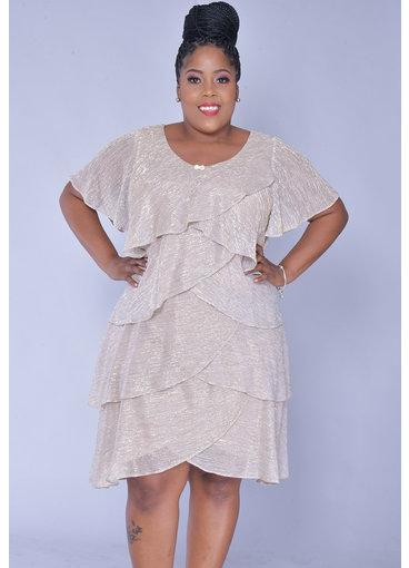 FARLY- Plus Size Foil Short Sleeve Shutter Dress