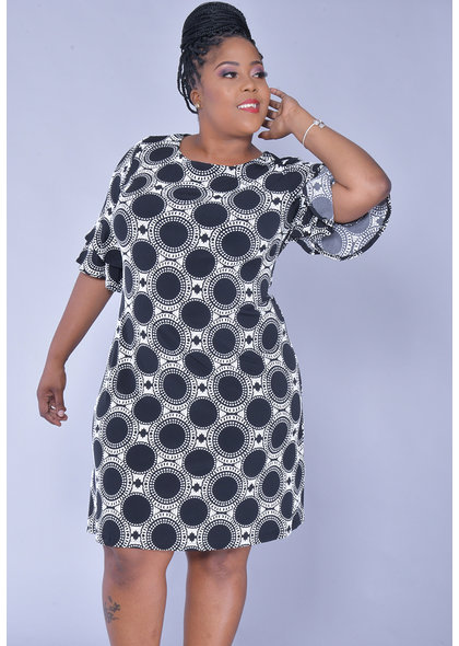 YAMKA- Plus Size Print Dress with Ruffle on Sleeve