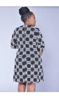 YAMKA- Plus Size Print Dress with Ruffle on Sleeve