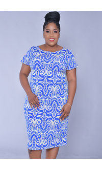 ICLYN- Plus Size V-Neck Puff Print Dress