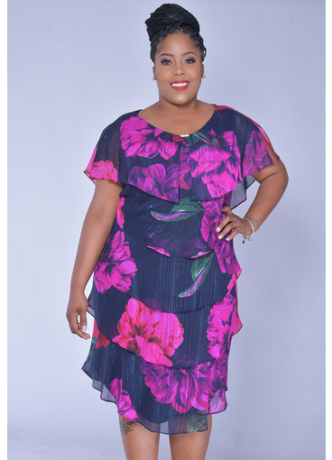 FELICIDAD-Plus Size Floral Print Shutter Dress
