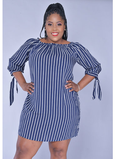 ACE Fashions KACIE- Plus Size Stripe Off Shoulder Dress