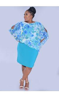 INDRELI-Plus Size Printed Caplet Dress