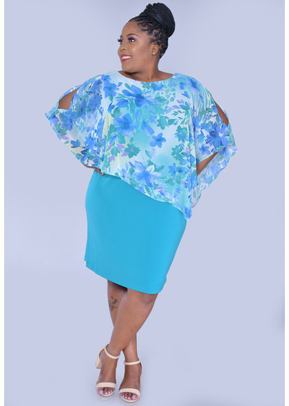 INDRELI-Plus Size Printed Caplet Dress