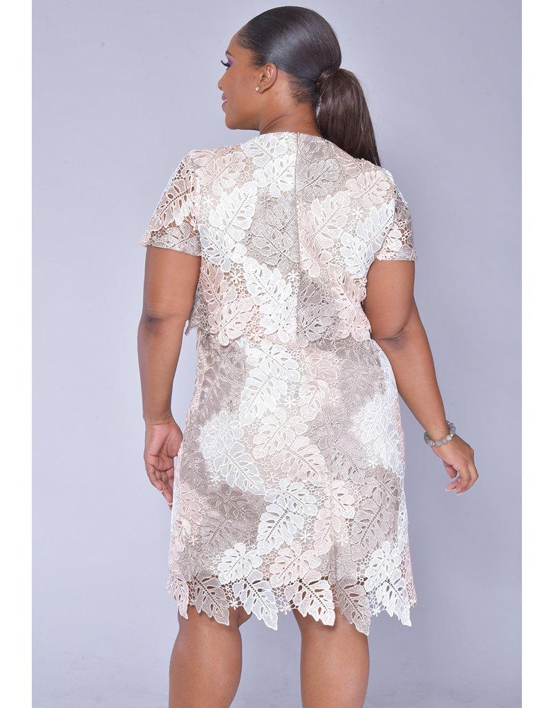CAIA- Leaf Pirnt Pop Over Crochet Dress