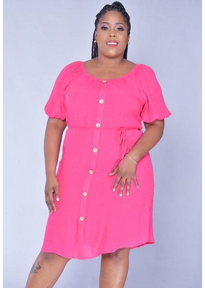 MLLE Gabrielle GANYA- Plus Size Puff Sleeve Shirt Dress