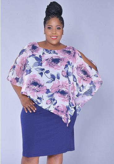 INDRELI- Plus Size Printed Chiffon Cape Dress