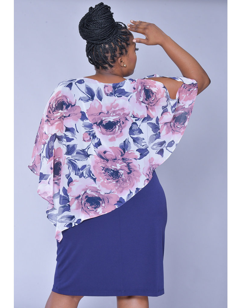 INDRELI- Plus Size Printed Chiffon Cape Dress