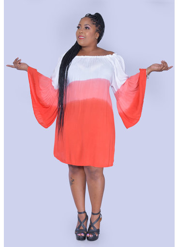 ACE Fashions KALIYAH- Plus Size Tie-dye Bell Sleeve Dress