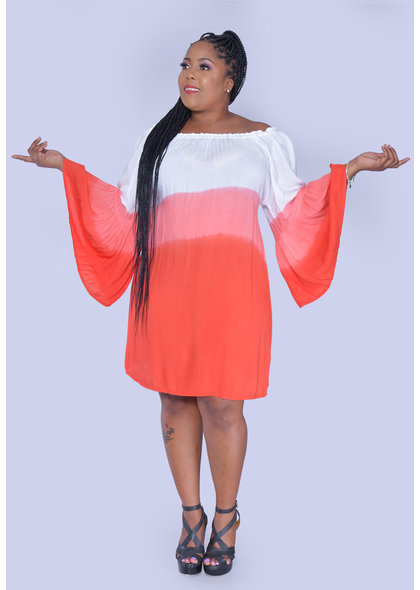 ACE Fashions KALIYAH- Plus Size Tiedye Bell Sleeve Dress