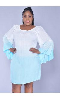 ACE Fashions KALIYAH- Plus Size Tie-dye Bell Sleeve Dress