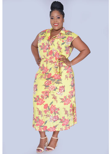 MLLE Gabrielle GIADAH- Plus Size Floral Print Dresswith Top Pocket