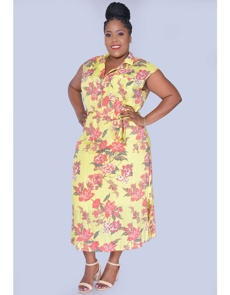 MLLE Gabrielle GIADAH- Plus Size Floral Print Dresswith Top Pocket