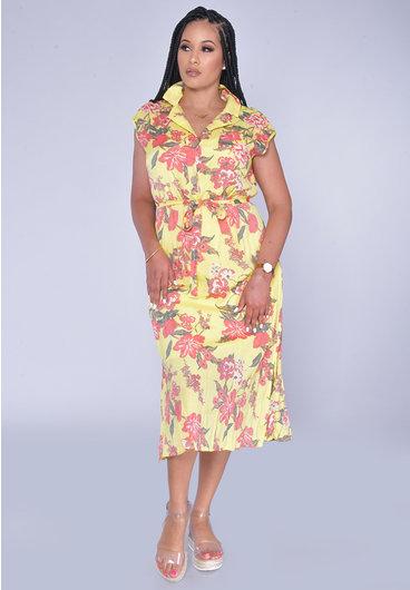 MLLE Gabrielle GIADAH-Floral Print Dresswith Top Pocket