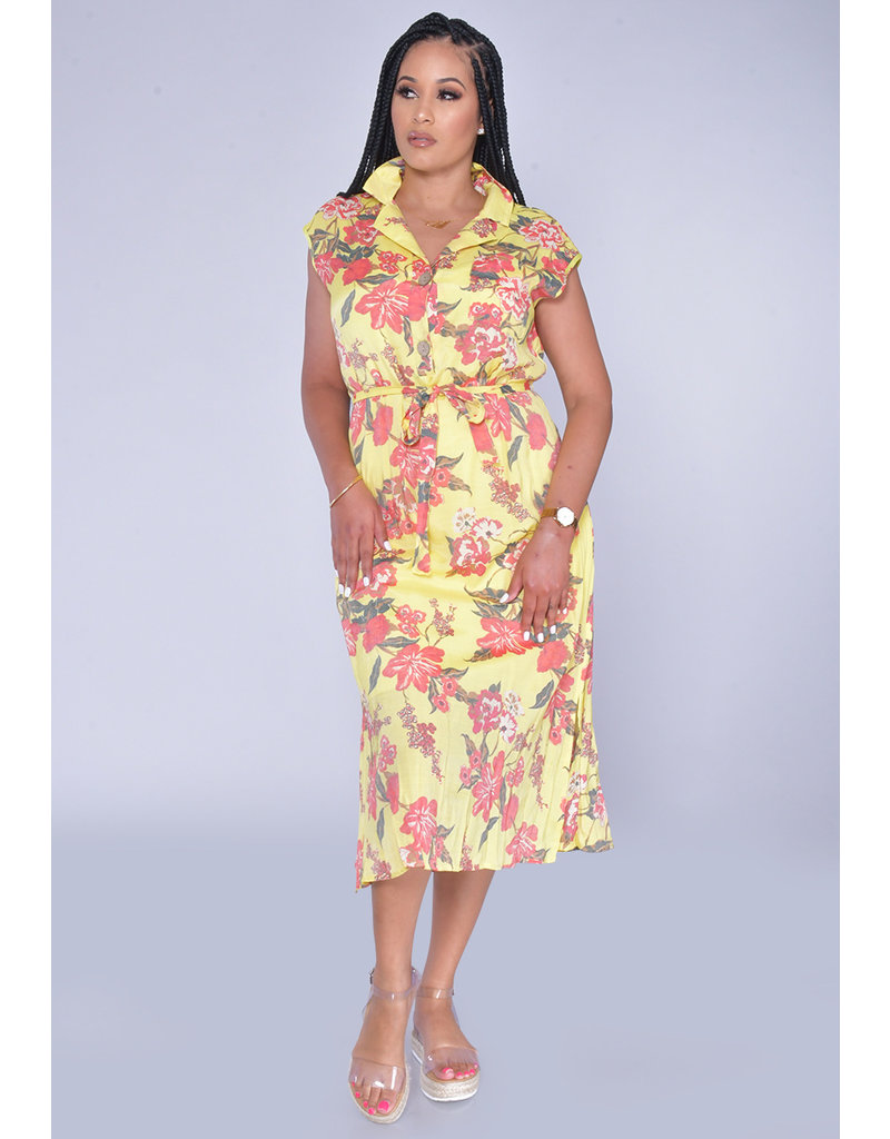 MLLE Gabrielle GIADAH-Floral Print Dresswith Top Pocket