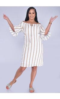 MLLE Gabrielle KORAH- Striped Off Shoulder Bell Sleeve Dress