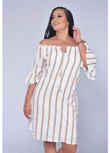MLLE Gabrielle KORAH- Striped Off Shoulder Bell Sleeve Dress