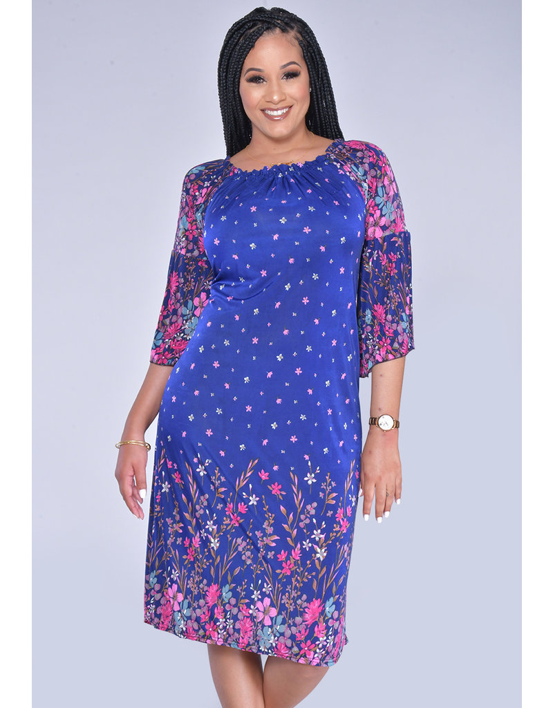 ACE Fashions INITRA- Printed Off Shoulder Dress
