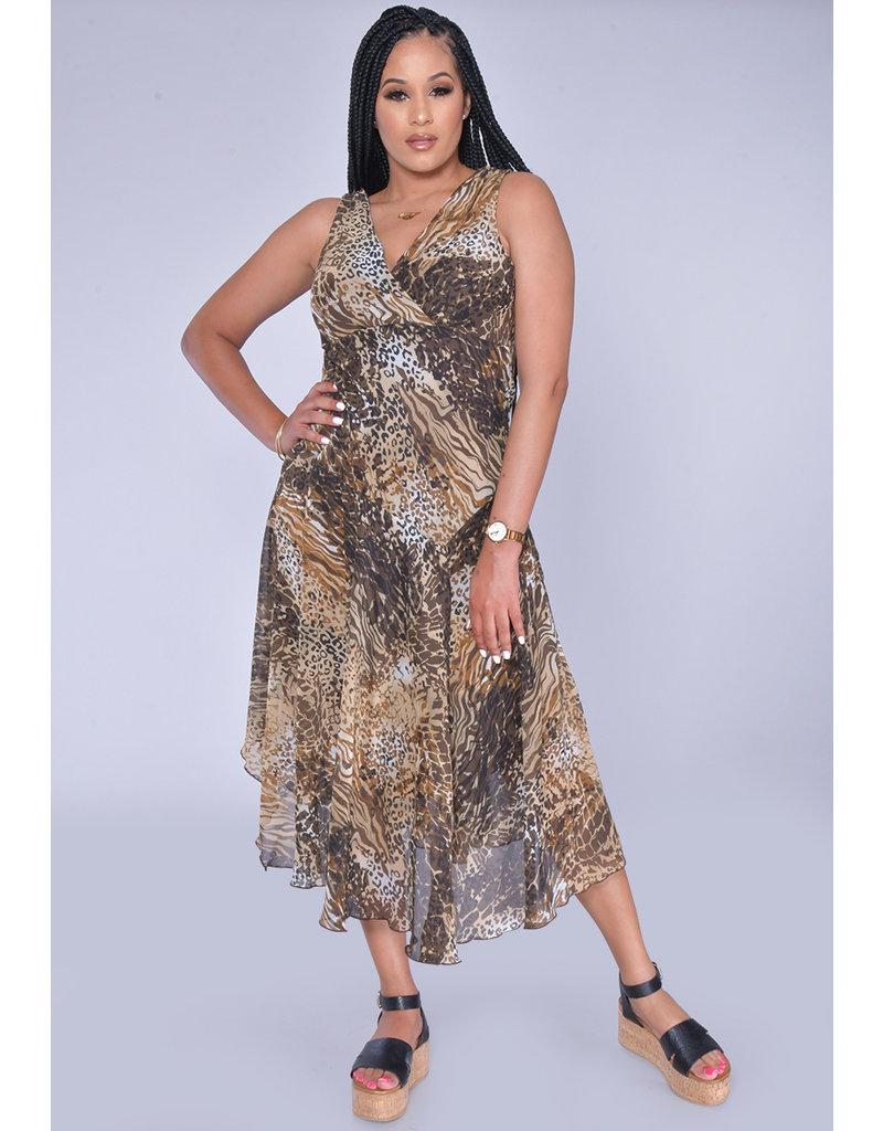 FERU- Broad Strap Animal Print Dress