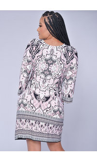 Sandra Darren YASHANA- Puff Print 3/4 Sleeve Dress