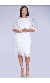 CAISA- Flora Laser Cut Bell Sleeve Dress