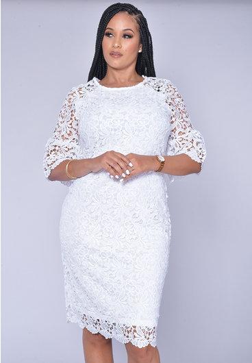 CAISA- Flora Laser Cut Bell Sleeve Dress