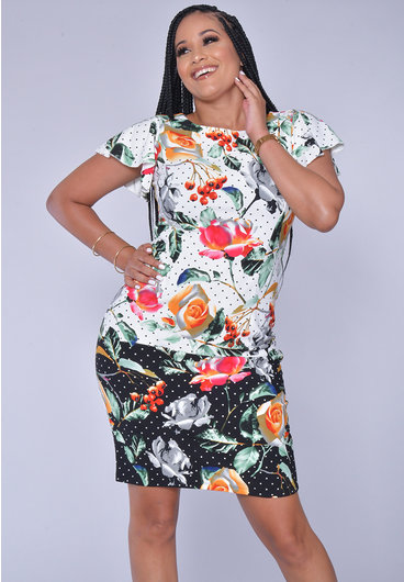 RUHINA- Striped Flutter Sleeve Dress