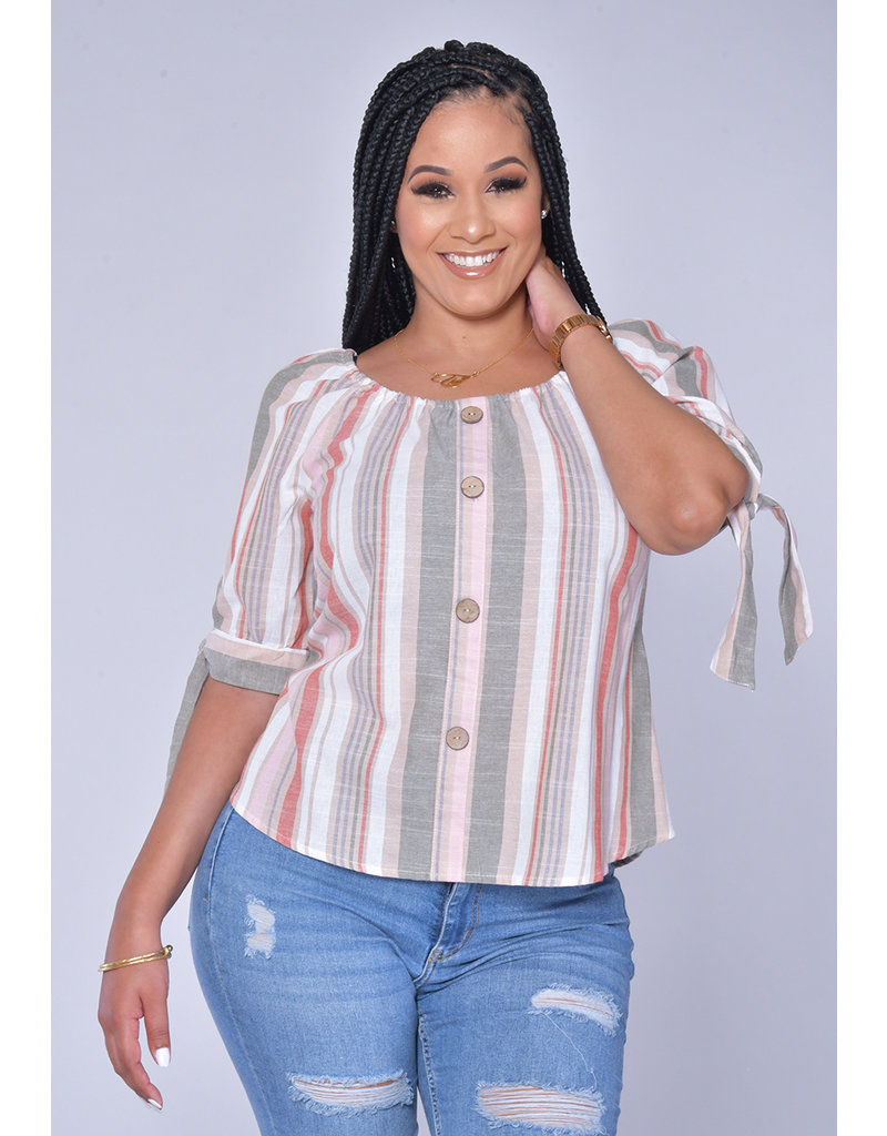 Unique Spectrum KYLE - Striped Top with Tie at Sleeves