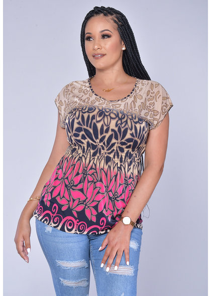 ACE Fashions VEMANDA- Printed Cap Sleeve Top with Elastic