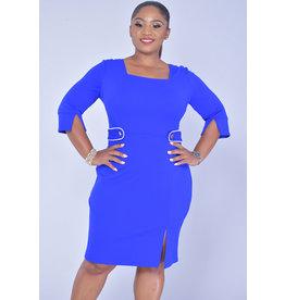 GLAMOUR RIYNA-Three Quarter Sleeve Contrast Trim Dress