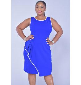GLAMOUR RESHA-Contrast Trim Sleeveless Dress