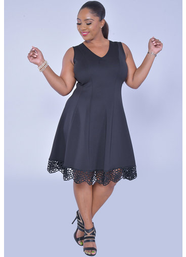 UHANA- Sleeves Lace Hem Scuba Dress
