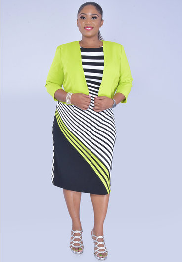 EBELE- Stripe and Solid Dress and Jacket