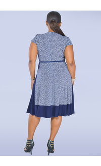 Jessica Howard IKERA- Print Dress with Solid Inlays