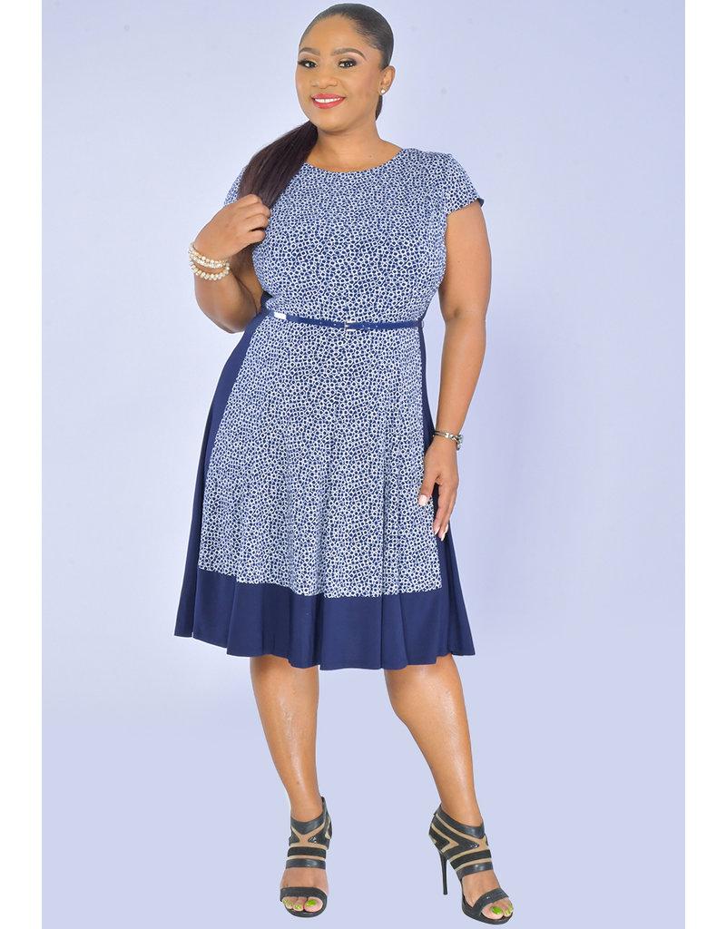 Jessica Howard IKERA- Print Dress with Solid Inlays