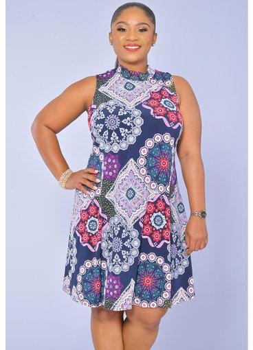 Signature IDECCA- High Collar Printed Shift Dress