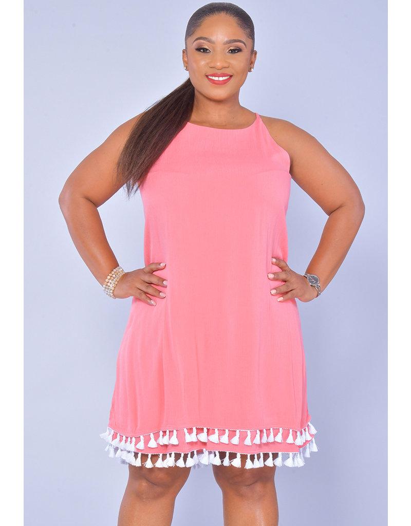 Nina Leonard KOFFEE-Strappy Tassels Dress