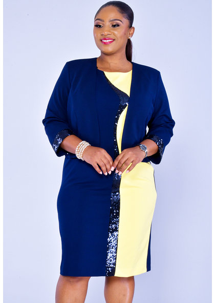 RINA- Plus Size Contrast Color Dress with Jacket